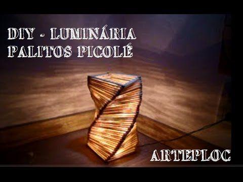 DIY - Luminária em espiral de palitos de picolé - Spiral lamp of popsicl...