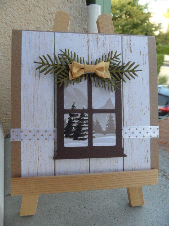 Carte de voeux , carte pour Noël ou nouvel an, carte avec fenêtre .