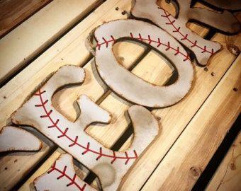 Béisbol Decor vivero pared Letras-béisbol por TheCrownedLily