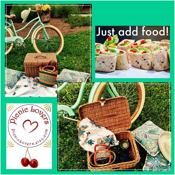 PICNIC BASKET SET INCLUDES: :: Vintage Large 18 wide x 12 high x 13 deep picnic basket and smaller 9 wide x 10 high colorful woven tote :: Vintage 52 square tablecloth/picnic cloth :: 4 vintage coordinating picnic luncheon plates :: 4 vintage coordinating cloth napkins and 4 retro napkin rings :: 4 vintage green melamine style picnic coffee cups :: 4 sets of new coordinating blue-handled picnic cutlery (sturdy plastic handles with metal forks, knives & spoons) :: 4 new blue goblet sh...