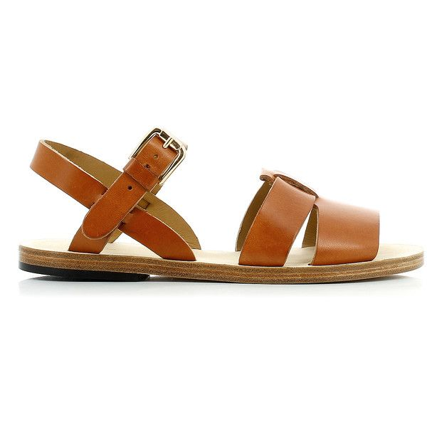 A.P.C. Sandalia Camel Flat Sandals ($255) ❤ liked on Polyvore featuring shoes, sandals, flat shoes, a p c sandals, flat sandals, a p c shoes and cross strap sandals