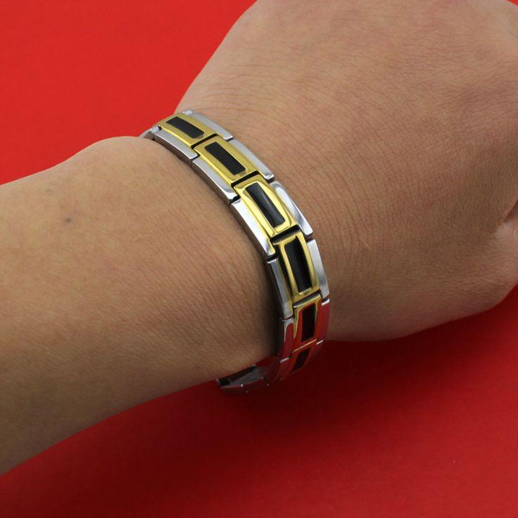 2017 New Hot Men's Golden Silver Power Germanium Magnetic Energy 316L Stainless Steel Bracelet TG04110 Wholesale Free Shipping