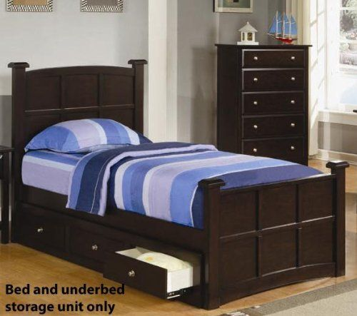 "Youth Twin Size Bed with Underbed Drawers in Rich Cappuccino Finish by Coaster Home Furnishings. $513.82. Twin. Kids & Youth. Some assembly may be required. Please see product details.. Kids & Youth->Kids Beds and Headboards. Bed Dimension: 45""W x 81 1/2""D x 48""H Storage Drawer (one side): 20""W x 74""D x 9""H Finish: Rich Cappuccino Material: Wood Youth Twin Size Bed with Underbed Drawers in Rich Cappuccino Finish The most versatile kids furniture will appeal to youngsters but hav..."