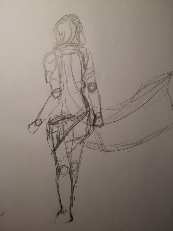 lightning(ff xiii) rough sketch first time trying to draw the back so i guess that's a progress!
