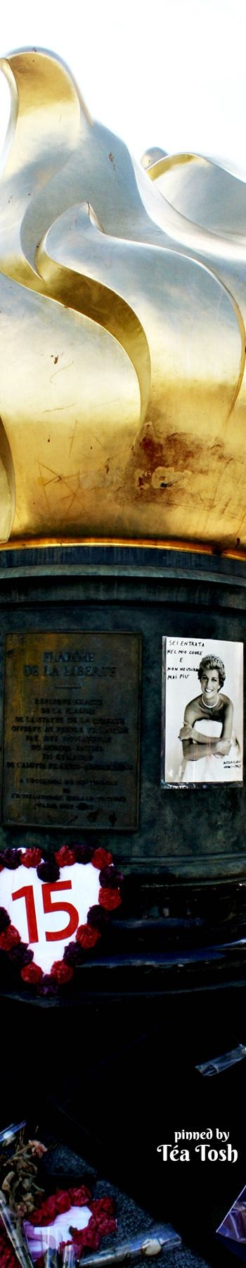 ❇Téa Tosh❇ The Flame of Liberty is always associated with the death of Diana, but it was really a gift to Paris from the U.S.A. in gratitude for the restoration hard work done on the Statue of Liberty. However, most tourist visit this spot because it's placed underneath the tunnel where Princess Diana was killed in a tragic car accident. So now it has become, unofficially known as Princess Diana Memorial.