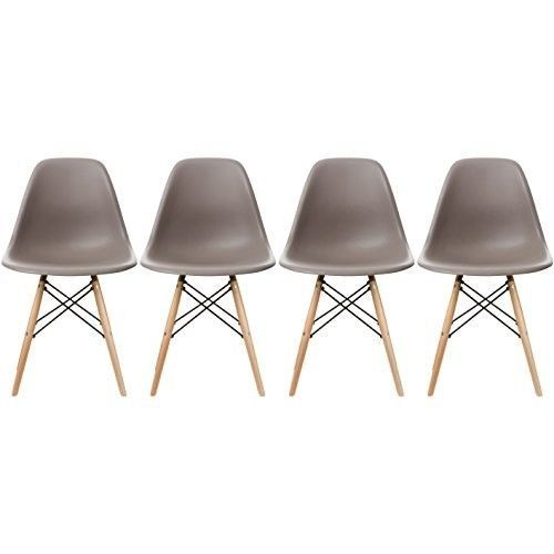 Eames-Style-Side-Chair-Natural-Wood-Legs-Dining-Room-Set-4-Grey-Plastic-Seat-New
