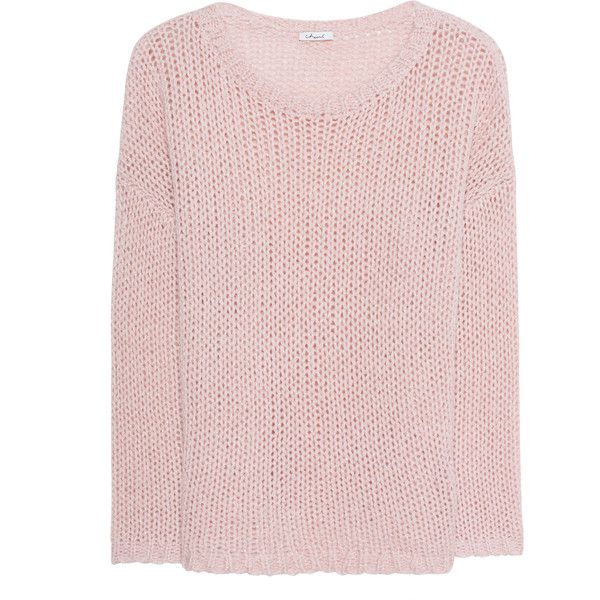 iHEART Jodie Rose // Chunky knit pullover with effect yarn (£175) ❤ liked on Polyvore featuring tops, sweaters, rose sweater, pink pullover sweater, sweater pullover, pullover sweater and crewneck sweaters