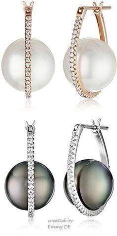 rubies.work/... 0118-ruby-rings/ Emmy DE * Tahitian Cultured Black Pearl with Diamonds #earrings