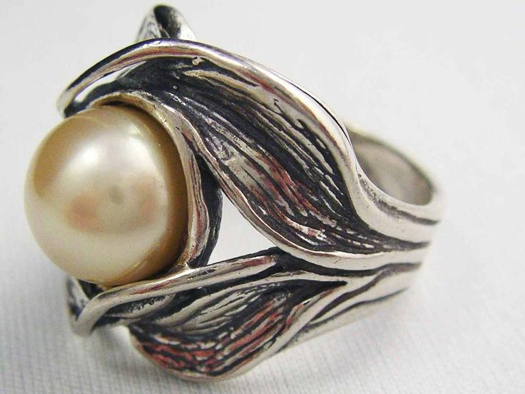 LARGE MABE Pearl STATEMENT Contemporary STERLING SILVER  RING 925 Vintage #ISRAELPZ