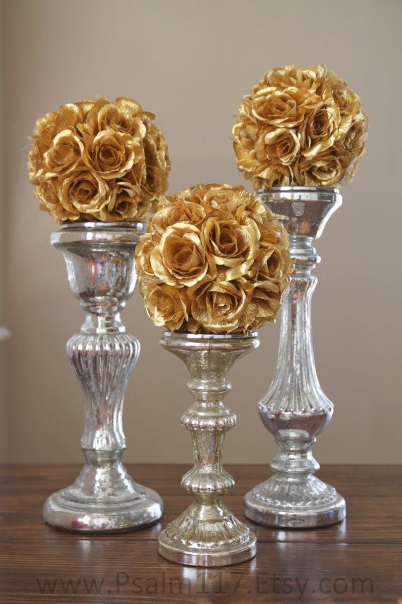 Gold flower pomander balls. Wedding isle, center piece decoration (on candle sticks or clear vases). 6-innch pomanders are $10 each. 8-inch pomanders are $15 each. You choose ribbon color and style. www.Psalm117.Etsy.com