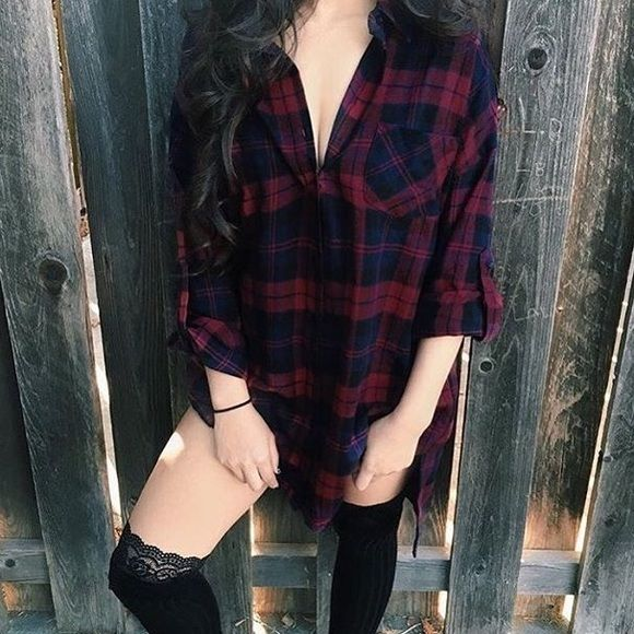 NWT | oversized flannel size L but fits S best - oversized flannel in dark blue & red - nasty gal inspired. warm + comfortable for the fall & winter, great to pair w/ thigh high socks as shown. *price is firm. retails $49 - can do flat $40 on merc. Tops Button Down Shirts