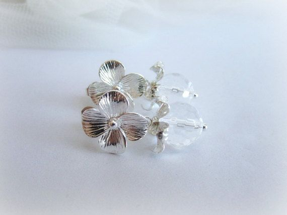 Rock crystal earrings natural translucent by MalinaCapricciosa