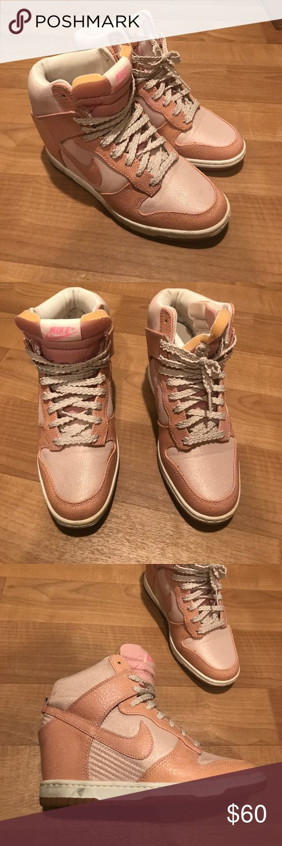 PINK NIKE DUNK SKY HIGH Sneakers LIKE NEW, pink Nike sneakers. Girly but with an edge. Has a hidden wedge to enhance height! Purchased at Nordstrom for $130, selling for $60. Great for everyday outfits Nike Shoes Sneakers