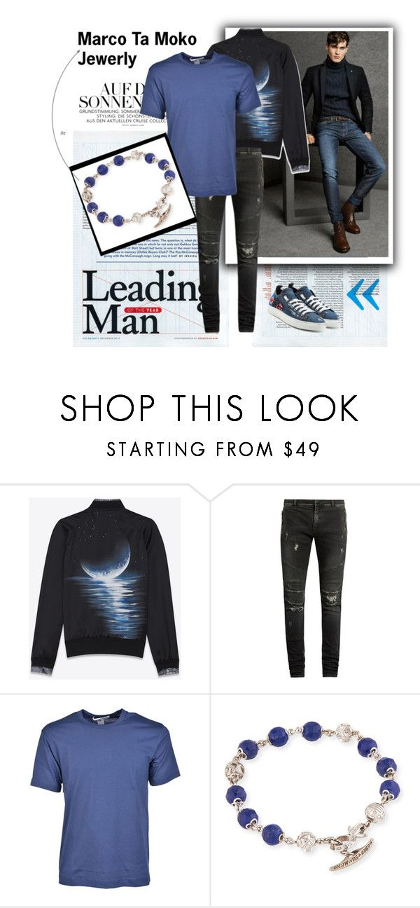 """""""Marco Ta Moko Jewerly 207"""" by dina-55 ❤ liked on Polyvore featuring Massimo Dutti, Yves Saint Laurent, Balmain, Comme des Garçons, Marco Ta Moko, Dsquared2, men's fashion and menswear"""