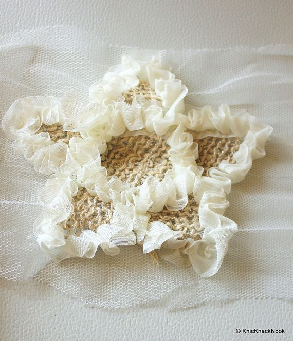 White And Beige Shabby Star Trim Fabric Applique  by KnicKnackNook