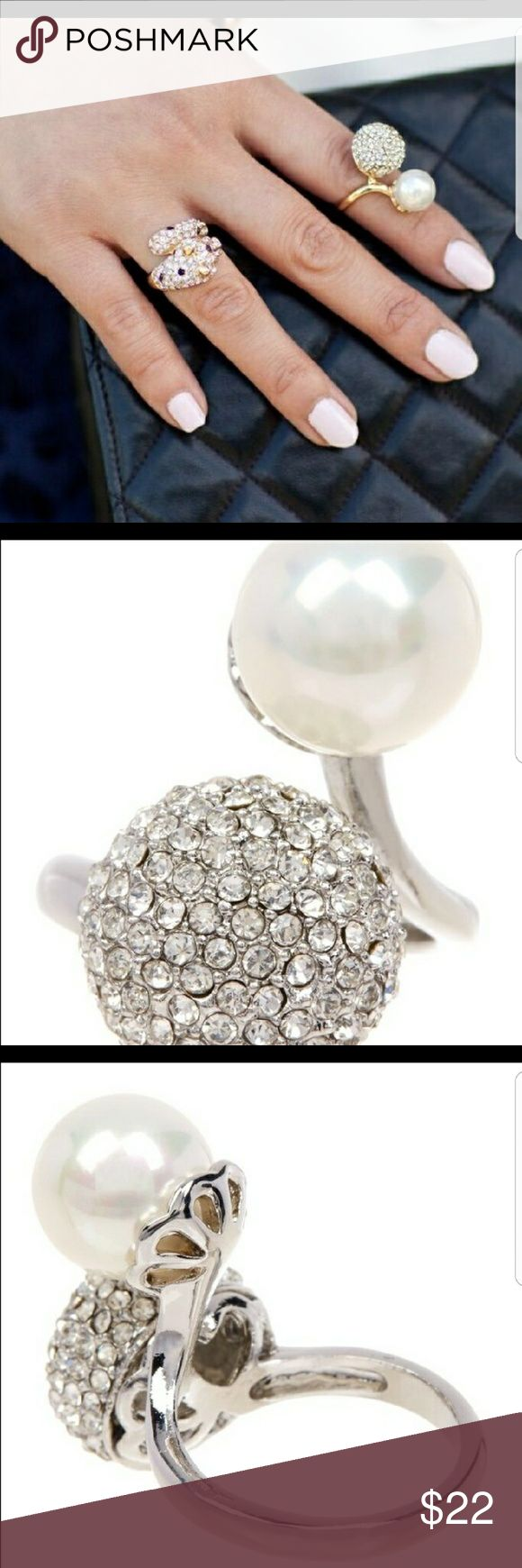 Silver Pave & Pearl Ring Material content : 18k white gold plated base,  nickle & lead free T&J Designs Jewelry Rings