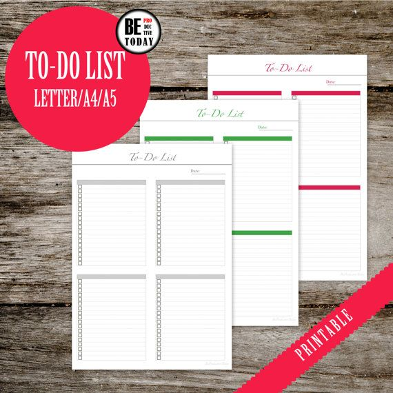 To Do List, To Do Planner Inserts, Notebook Page, Filofax, A5 Inserts, A4 Printable Planner, Letter, Daily To-Do List, Filofax Planner Page