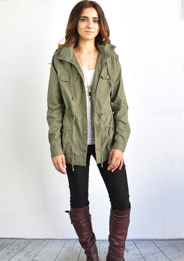 Plaid Trim Hooded Utility Jacket | Jane
