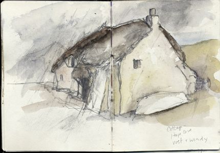 Cottage, Hope Cove,  South Devon, wet and windy A6 Sketchbook. Watercolour, Kathy Lewis
