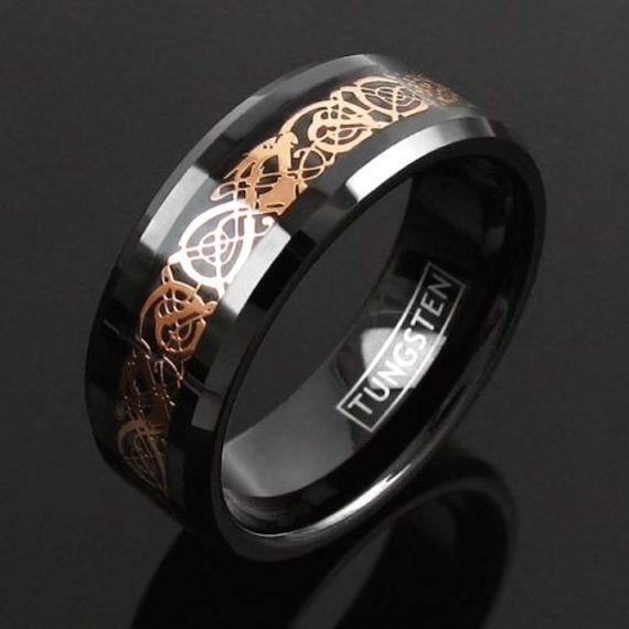 Celtic Tungsten Band, Rose Gold Ring, Black Tungsten Ring, Rose Gold Celtic Band, Gift For Him, Mens Wedding Band, Mens Wedding Ring