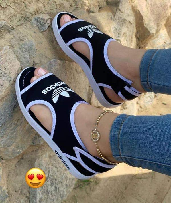 Adidas sandals, Black nike shoes