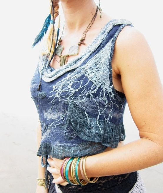 Beautiful Blue Wave Nuno Merino Felt and Silk by feltyouup on Etsy, $179.00 by christina carrera