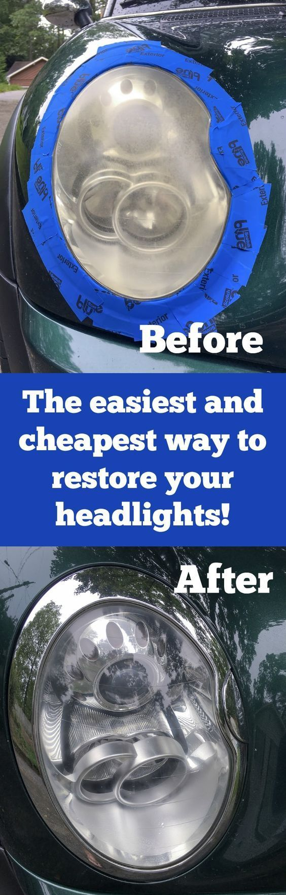 We found the best DIY headlight restoration kit, and want to share our process with you. Search for products no more - this restores your headlights inexpensively and in 30 minutes. Works WAY better than baking soda and toothpaste and lasts longer. via @diy_candy