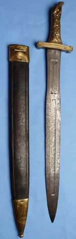 French Model 1771 Eaglehead Artillery Short Sword. An original example of a French Napoleonic artilleyman's sword complete with scabbard.