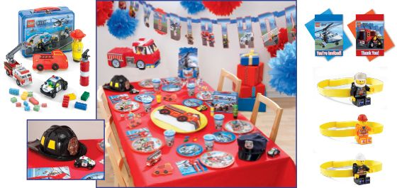 lego city birthday party - Lego city is full of heroes: firefighters, police officers, the birthday boy and his friends. build a fantastic party for them out of our Lego-themed decorations and partyware. be sure to top each guest with fun headgear.