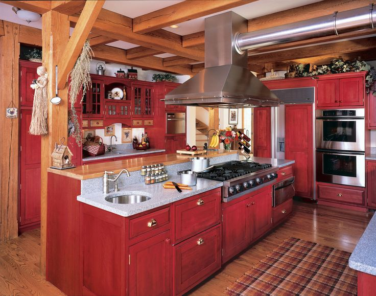 Incredible red lacquer cabinet ideas in kitchen farmhouse for Farm style kitchen handles