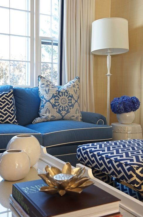 Kerry Hanson Design   Living Rooms   Oomph Fenwick Coffee Table, Quadrille  Fabrics Aga New Navy On Tint Fabric, Blue Living Room, Blue Sofa,. Part 79