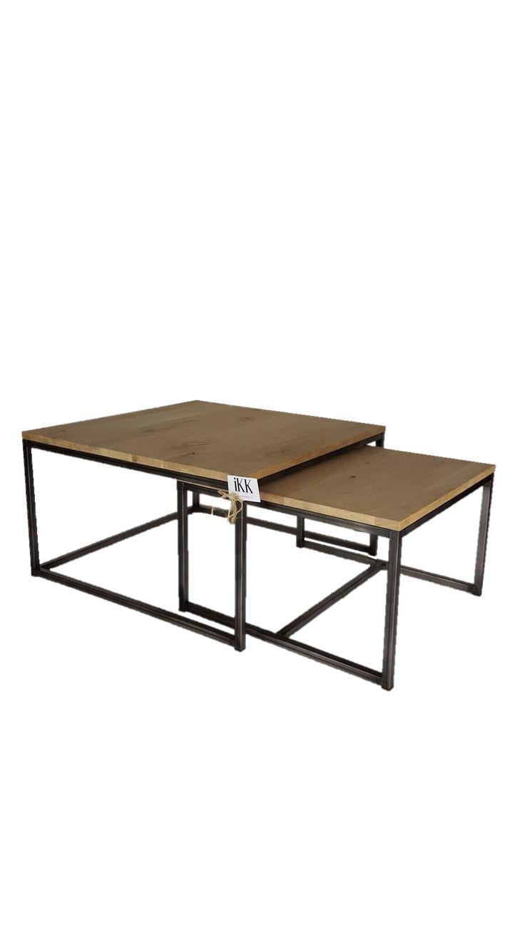 Set van 2 Salontafels Rustiek Frans eiken – 75x75x40 / 60x60x35