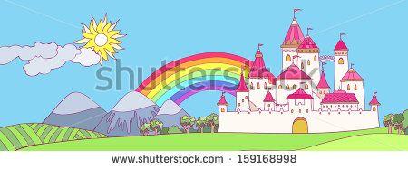 Cartoon panoramic landscape with castle. Cute illustration
