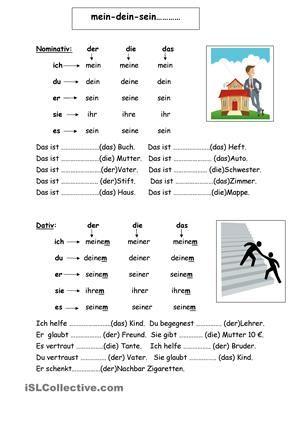 Hier werden die Possessivpronomen in allen Personen und den gängigen Fällen (Nominativ,Dativ,Akkusativ) vorgestellt und sollen dann im Lückentext richtig eingesetzt werden. - DaF Arbeitsblätter