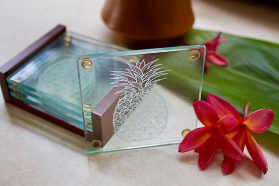 Glass Pineapple Coasters / Tropical Coasters / Set of 4