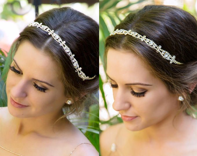 Or cristal bandeau de mariée or casque, fait sur mesure bandeau de mariage sur commande accessoire de coiffure de mariage, mariage cheveux H5W