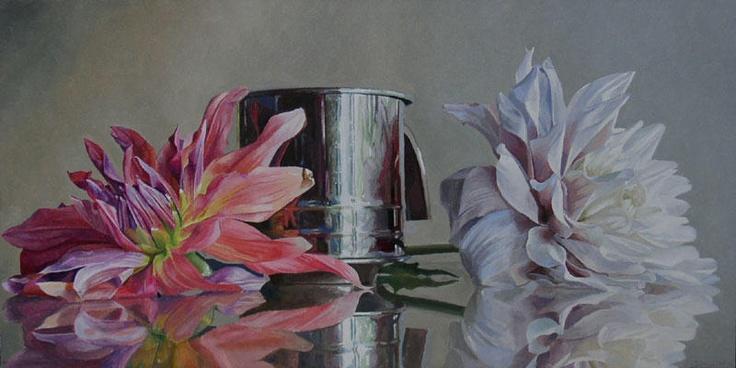 David Dorsey - 'Dahlias and Flour Sifter' -  oil on canvas