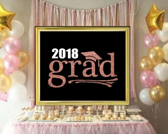 2020 Grad Rose Gold Glitter And Black Printable Party Sign Gold