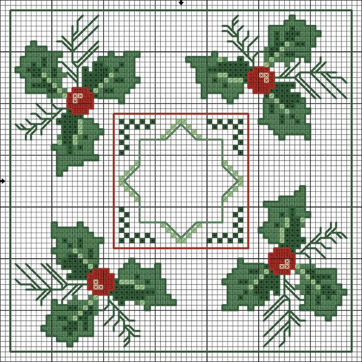Beautiful Christmas holly cross stitch chart for linens & biscornu... no color chart available, just use the pattern chart as your color guide.. or choose your own colors...