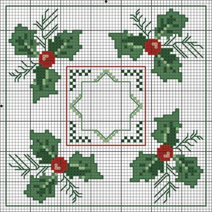 Punto de cruz: Flores de navidad de esquinas