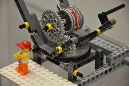 Photo shows the LEGO gears, spool and lever used to turn the gears.