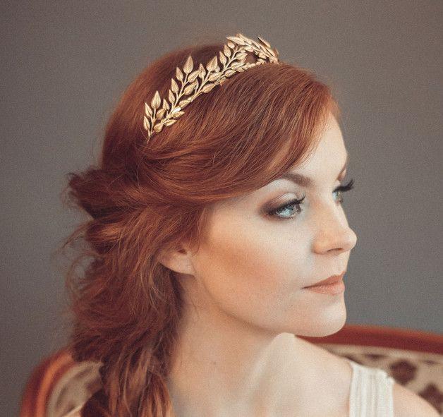 Blattgold-Kopfband - griechische Göttin Stirnband - Grecian Tiara - Hochzeit-Kopfband - Böhmische Kopf Stück  Perfekt, mit oder ohne Braut Schleier zu tragen.  -Abmessungen: Metal verlässt,...