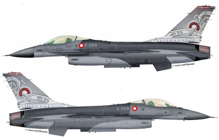 """F-16A Block15В #E-008 (s/n 87-0008, c/n 6F-51)  from 730 sqn. """"Birdsong"""", Royal Danish Air Force – RDAF. Anniversary 66 Danish Air Force. Danish Airshow 2016. AB Skrydstrup. June 2016."""