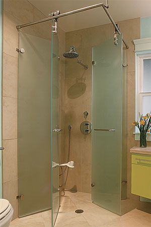 two pairs of 20inwide doors pivot on rollers small showersopen