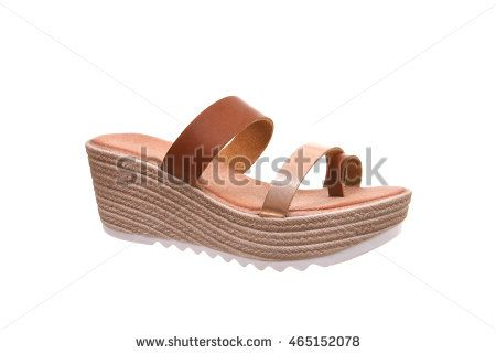 Woman platform sandal isolated on white background