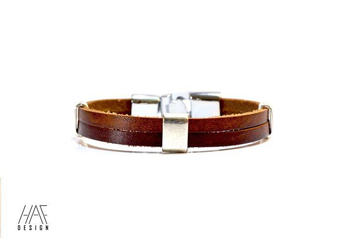 Bracelet en CUIR Pour Homme Marron , fermoir en acier inoxydable : Bijoux pour hommes par haf-design