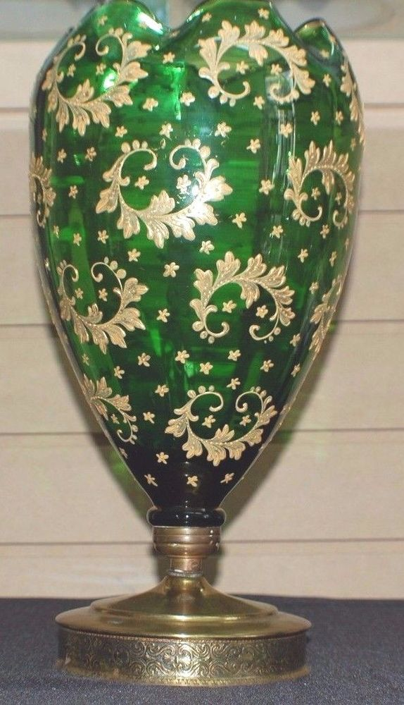 antique Victorian Green glass moser? vase gold painted large 13 inches tall