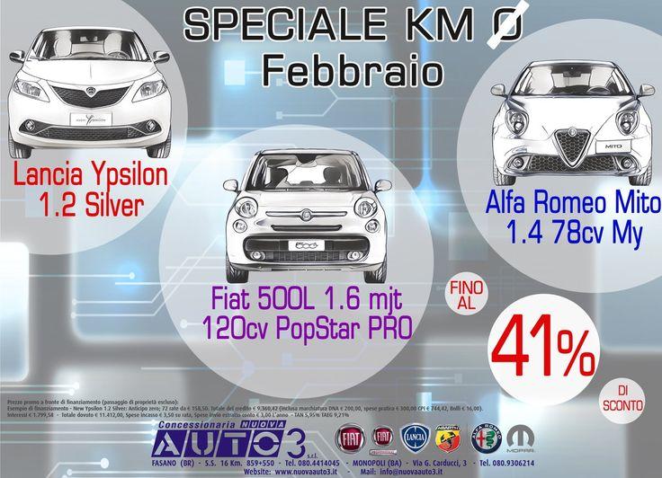 Speciale #KM0 Febbraio  #Fiat, #Lancia #AlfaRomeo, Extra #Sconti fino al 41%  www.nuovaauto3.it