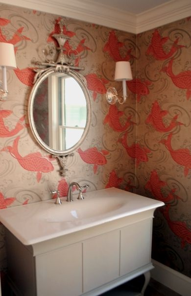 27 best stunning wallcoverings images on pinterest home for Koi fish bathroom decorations