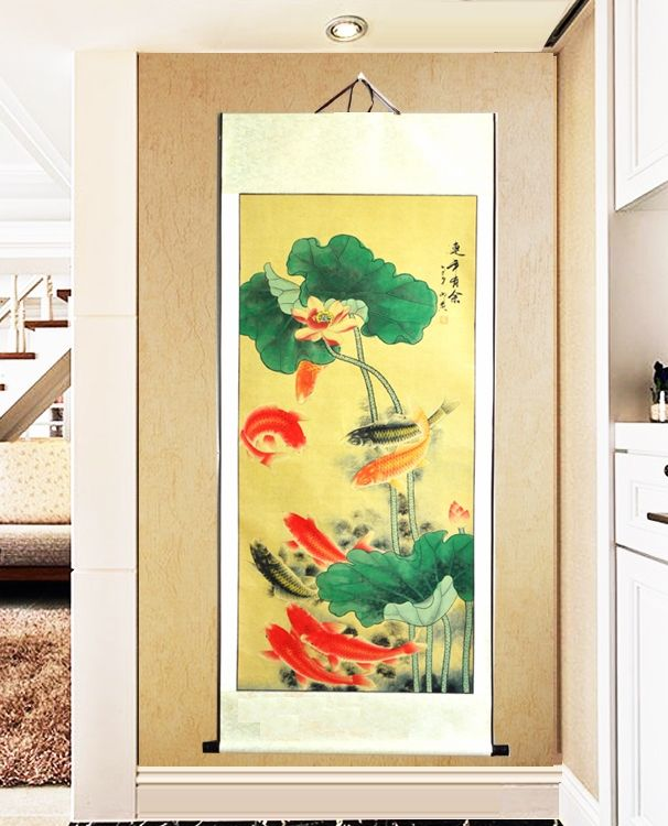 Cheap painting styles, Buy Quality koi fish directly from China living room decoration Suppliers: Large Scroll Painting / Good Luck Koi fish and Lotus leaf Japanese style Gifts / Hotel Lobby Restaurant Living room decoration